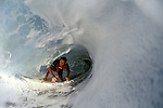 A water view of a surfer slipping through a barrel at the famous surf spot called the Wedge in Newport Beach, EXPA Pictures © 2010, PhotoCredit: EXPA/ New Sport/ Les Walker *** ATTENTION *** United States of America OUT!