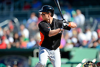 Miami Marlins outfielder Chris Coghlan #8 during a Spring Training game against the Boston Red Sox at JetBlue Park on March 27, 2013 in Fort Myers, Florida.  Miami defeated Boston 5-1.  (Mike Janes/Four Seam Images)
