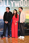 "Director Quentin Tarantino, producer Shannon McIntosh and actor Leonardo DiCaprio attend the press conference for their movie ""Once Upon a Time in Hollywood"" in Tokyo, Japan on August 26, 2019.  The film will be released in Japan on August 30.   (Photo by AFLO)"