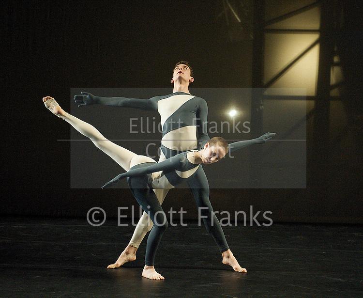Nearly Ninety<br /> The Merce Cunningham Dance Company <br /> choreography by Merce Cunningham<br /> at The Barbican Theatre, London, Great Britain <br /> rehesrsal <br /> 26th October 2010 <br /> <br /> <br /> <br /> Dylan Crossman <br /> Julie Cunningham <br /> <br /> <br /> Photograph by Elliott Franks<br /> 2010&copy;Elliott Franks