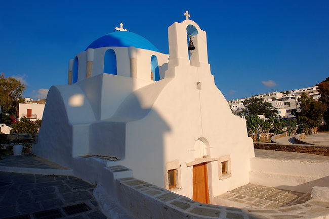 Blue domed white Byzantine Greek Orthodox Chapel of Panaghia Gremiotissa. Chora  (Hora), Ios, Cyclades Islands, Greece.