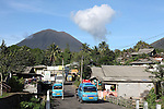 Kinilow town at foot of Lokon-Empung volcano, Sulawesi, Indonesia.