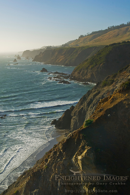 Steep and rugged cliffs along the coast near Elk, Mendocino County, California