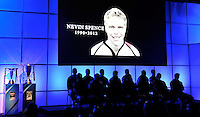 London, England. General view of the presentation as Nevin Spence of Ulster Rugby remembered during the UK Heineken Cup and Amlin Challenge Cup season launch at SKY Studios on October 1, 2012 in London, England.