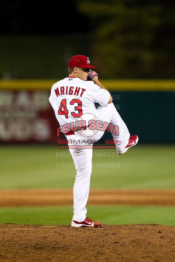 Justin Wright (43) of the Springfield Cardinals winds up during a game against the Arkansas Travelers at Hammons Field on June 13, 2012 in Springfield, Missouri. (David Welker/Four Seam Images)