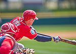 29 February 2016: Washington Nationals infielder Brendan Ryan lays down a bunt during an inter-squad pre-season Spring Training game at Space Coast Stadium in Viera, Florida. Mandatory Credit: Ed Wolfstein Photo *** RAW (NEF) Image File Available ***