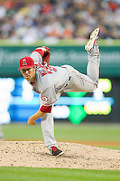 Los Angeles Angels starting pitcher C.J. Wilson (33) follows through on his delivery against the Detroit Tigers at Comerica Park on June 25, 2013 in Detroit, Michigan.  The Angels defeated the Tigers 14-8.  (Brian Westerholt/Four Seam Images)