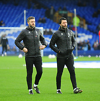 Lincoln City's assistant manager Nicky Cowley, left, and Lincoln City manager Danny Cowley during the pre-match warm-up<br /> <br /> Photographer Andrew Vaughan/CameraSport<br /> <br /> Emirates FA Cup Third Round - Everton v Lincoln City - Saturday 5th January 2019 - Goodison Park - Liverpool<br />  <br /> World Copyright &copy; 2019 CameraSport. All rights reserved. 43 Linden Ave. Countesthorpe. Leicester. England. LE8 5PG - Tel: +44 (0) 116 277 4147 - admin@camerasport.com - www.camerasport.com