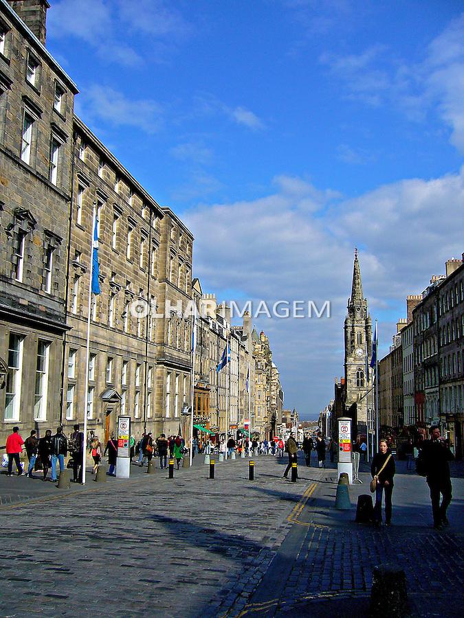 Calçadão na cidade velha. Edimburgo, Escócia.2007. Foto de Marcio Nel Cimatti.