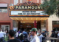 People wait to enter the Paramount Theater before a memorial for Heather Heyer Wed., August 16, 2017, in Charlottesville, Va. Heyer was killed the previous weekend when a vehicle drove into a crowd of counter-protestors after the Unite The Right rally. Photo/Andrew Shurtleff