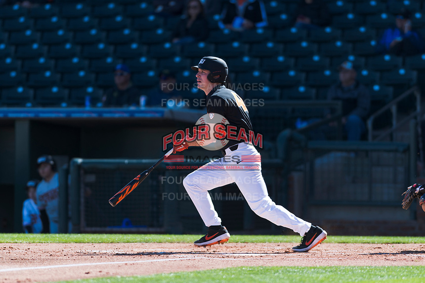 Oregon State Beavers designated hitter Alex McGarry (44) starts down the first base line during a game against the Gonzaga Bulldogs on February 16, 2019 at Surprise Stadium in Surprise, Arizona. Oregon State defeated Gonzaga 9-3. (Zachary Lucy/Four Seam Images)