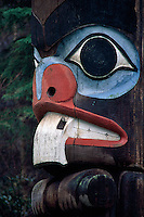 Vibrant carving of beaver at bottom of totem pole in Thunderbird Park, Victoria, BC