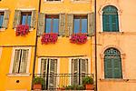 Colorful windows on Piazza Erbe