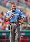 2 March 2013: MLB Umpire  CB Bucknor takes a break between innings of a Spring Training game between the Washington Nationals and the St. Louis Cardinals at Roger Dean Stadium in Jupiter, Florida. The Nationals defeated the Cardinals 6-2 in their first meeting since the NLDS series in October of 2012. Mandatory Credit: Ed Wolfstein Photo *** RAW (NEF) Image File Available ***