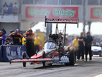 Oct 17, 2015; Ennis, TX, USA; NHRA top fuel driver Billy Torrence during qualifying for the Fall Nationals at the Texas Motorplex. Mandatory Credit: Mark J. Rebilas-USA TODAY Sports