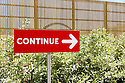 The sign reads &quot;Continue&quot; at Russia Pavilion of Expo 2015, Rho-Pero, Milan. &copy; Carlo Cerchioli<br /> <br /> Il cartello dice &quot;continua&quot; al padiglione della Russia di Expo 2015, Rho-Pero, Milano.