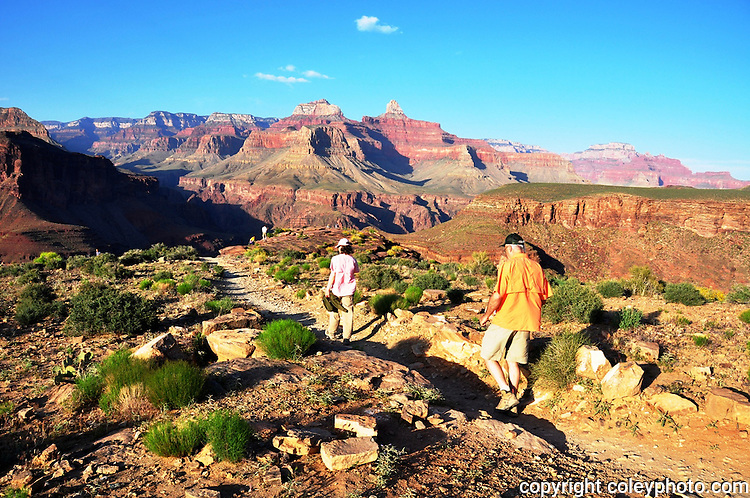 A couple hikes the Plateau Point trail in Arizona's Grand Canyon.