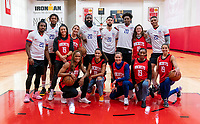 HOUSTON, TX - FEBRUARY 1: The Houston Rockets and the USWNT pose together at Houston Rockets Training Center on February 1, 2020 in Houston, Texas.