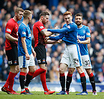 05.05.2018 Rangers v Kilmarnock: Kirk Broadfoot and David Bates shoving at a corner kick