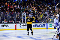 April 25, 2018: Boston Bruins defenseman Torey Krug (47) reacts to his goal during game seven of the first round of the National Hockey League's Eastern Conference Stanley Cup playoffs between the Toronto Maple Leafs and the Boston Bruins held at TD Garden, in Boston, Mass. Boston defeats Toronto 7-4 and wins the best of seven series 4 games to 3 to advance to round two.