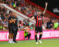 Diego Rico of AFC Bournemouth looks for the ball in front of AFC Bournemouth Manager Eddie Howe and AFC Bournemouth Assistant Manager Jason Tindall during AFC Bournemouth vs Real Betis, Friendly Match Football at the Vitality Stadium on 3rd August 2018
