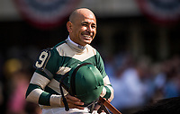 ELMONT, NY - JUNE 10: Mike Smith celebrates his 4th stakes win on the Belmont Stakes card at Belmont Park on June 10, 2017 in Elmont, New York.  (Photo by Alex Evers/Eclipse Sportswire/Getty Images)