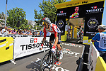 Maxime Monfort (BEL) Lotto-Soudal starts Stage 13 of the 2019 Tour de France an individual time trial running 27.2km from Pau to Pau, France. 19th July 2019.<br /> Picture: ASO/Olivier Chabe | Cyclefile<br /> All photos usage must carry mandatory copyright credit (© Cyclefile | ASO/Olivier Chabe)