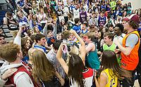 Springdale Har-Ber students celebrate Friday, Feb. 14, 2020, after Har-Ber defeated Bentonville West at Wildcat Arena in Springdale. Go to nwaonline.com/prepbball/ to see more photos.<br /> (NWA Democrat-Gazette/Ben Goff)