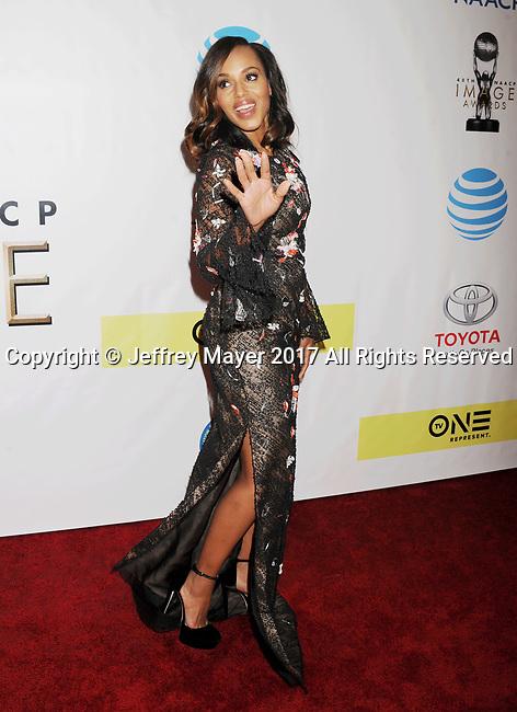 PASADENA, CA - FEBRUARY 11: Actress Kerry Washington arrives at the 48th NAACP Image Awards at Pasadena Civic Auditorium on February 11, 2017 in Pasadena, California.