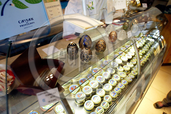 PARIS - FRANCE - 15 APRIL 2004--The Caviar Kaspia house on Place de la Madeleine. It is not only caviar for sale.-- PHOTO: ERIK LUNTANG / EUP-IMAGES