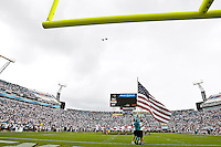 "October 09, 2011:   ""The Red Rippers,"" flying F-18's perform a flyover during the National Anthem before the start of action between the Jacksonville Jaguars and the Cincinnati Bengals played at EverBank Field in Jacksonville, Florida.  ........"