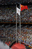 08 AUG 2008 - BEIJING, CHN - The Olympic flag is raised during the Opening Ceremony -  Beijing Olympics. (PHOTO (C) NIGEL FARROW) *** IOC RULES APPLY ON USAGE ***