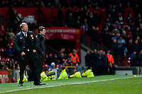 Sunday 05 January 2014<br /> Pictured:David Moyes, Manager of Manchester United and Michael Laudrup, Manager of Swansea City<br /> Re: Manchester Utd FC v Swansea City FA cup third round match at Old Trafford, Manchester