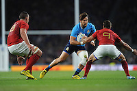 Michele Campagnaro of Italy looks to go round Sébastien Tillous-Borde of France as Louis Picamoles of France supports during Match 5 of the Rugby World Cup 2015 between France and Italy - 19/09/2015 - Twickenham Stadium, London <br /> Mandatory Credit: Rob Munro/Stewart Communications
