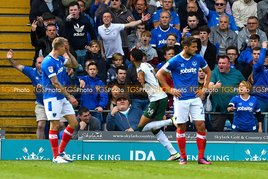 Jake Jervis of Plymouth Argyle middle celebrates his goal as Portsmouth players look distraught during Portsmouth vs Plymouth Argyle, Sky Bet EFL League 2 Football at Fratton Park on 14th April 2017