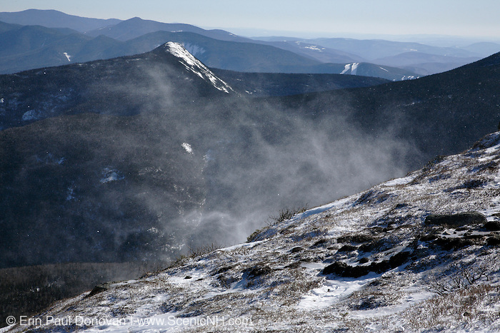 Appalachian Trail - Winds cause snow to blow around along the Franconia Ridge Trail during the winter months. Located in the White Mountains, New Hampshire USA