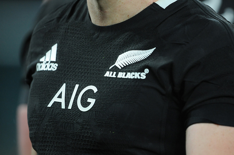 Close up of the All Blacks shirt during the Quilter International match between England and New Zealand at Twickenham Stadium on Saturday 10th November 2018 (Photo by Rob Munro/Stewart Communications)