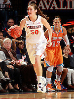 CHARLOTTESVILLE, VA- NOVEMBER 20: Chelsea Shine #50 of the Virginia Cavaliers dribbles past Taber Spani #13 of the Tennessee Lady Volunteers during the game on November 20, 2011 at the John Paul Jones Arena in Charlottesville, Virginia. Virginia defeated Tennessee in overtime 69-64. (Photo by Andrew Shurtleff/Getty Images) *** Local Caption *** Chelsea Shine; Taber Spani