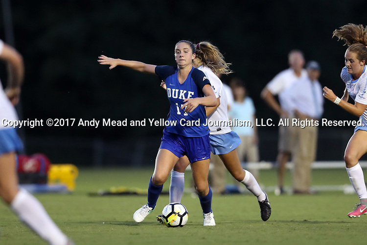 CARY, NC - AUGUST 18: Duke's Ella Stevens. The University of North Carolina Tar Heels hosted the Duke University Blue Devils on August 18, 2017, at Koka Booth Stadium in Cary, NC in a Division I college soccer game.