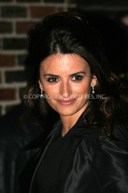 WWW.ACEPIXS.COM . . . . .  ....January 9, 2007, New York City.....Penelope Cruz arrives at 'The Late Show with David Letterman' at the Ed Sullivan Theater.....Please byline: NANCY RIVERA- ACEPIXS.COM.... *** ***..Ace Pictures, Inc:  ..Craig Ashby (212) 243-8787..e-mail: picturedesk@acepixs.com..web: http://www.acepixs.com