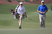 Padraig Harrington and caddy Ronan Flood walk up to the 5th green during Day 1 of the Dubai World Championship, Earth Course, Jumeirah Golf Estates, Dubai, 25th November 2010..(Picture Eoin Clarke/www.golffile.ie)