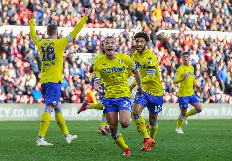 Leeds United's Kalvin Phillips celebrates scoring an equaliser in the 101st minute<br /> <br /> Photographer Alex Dodd/CameraSport<br /> <br /> The EFL Sky Bet Championship - Middlesbrough v Leeds United - Saturday 9th February 2019 - Riverside Stadium - Middlesbrough<br /> <br /> World Copyright © 2019 CameraSport. All rights reserved. 43 Linden Ave. Countesthorpe. Leicester. England. LE8 5PG - Tel: +44 (0) 116 277 4147 - admin@camerasport.com - www.camerasport.com