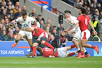 Anthony Watson of England breaks through to score a try during the Guinness Six Nations match between England and Wales at Twickenham Stadium on Saturday 7th March 2020 (Photo by Rob Munro/Stewart Communications)