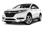 Stock pictures of low aggressive front three quarter view of 2016 Honda HRV Executive 5 Door Suv Low Aggressive
