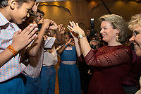 Queen Mathilde of Belgium meets with handicapped children from UNICEF, during a State Visit to India