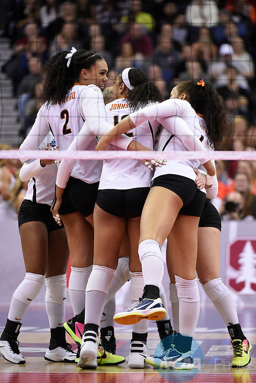 COLUMBUS, OH - DECEMBER 17:  Ebony Nwanebu (2) of the University of Texas and her teammates celebrate a point against Stanford University during the Division I Women's Volleyball Championship held at Nationwide Arena on December 17, 2016 in Columbus, Ohio.  Stanford defeated Texas 3-1 to win the national title. (Photo by Jamie Schwaberow/NCAA Photos via Getty Images)