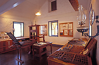 Interior of historical Hale Pai and a printing press that created books in Hawaiian.  Hale Pai is one of the oldest American schools