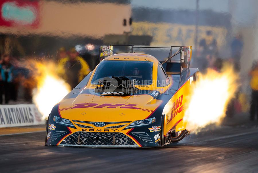 Jul 26, 2019; Sonoma, CA, USA; NHRA funny car driver J.R. Todd during qualifying for the Sonoma Nationals at Sonoma Raceway. Mandatory Credit: Mark J. Rebilas-USA TODAY Sports