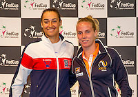 Arena Loire,  Trélazé,  France, 14 April, 2016, Semifinal FedCup, France-Netherlands, Draw,  French Caroline Garcia and Dutch Richel Hogenkamp (R) second match sunday<br /> Photo: Henk Koster/Tennisimages