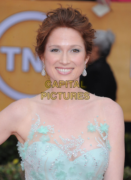 Ellie Kemper.Arrivals at the 19th Annual Screen Actors Guild Awards at the Shrine Auditorium in Los Angeles, California, USA..27th January 2013.SAG SAGs headshot portrait blue lace strapless  pale bow sash.CAP/DVS.©DVS/Capital Pictures.
